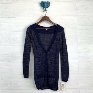 Maison Jules Royal Blue Metallic Gold Cardigan